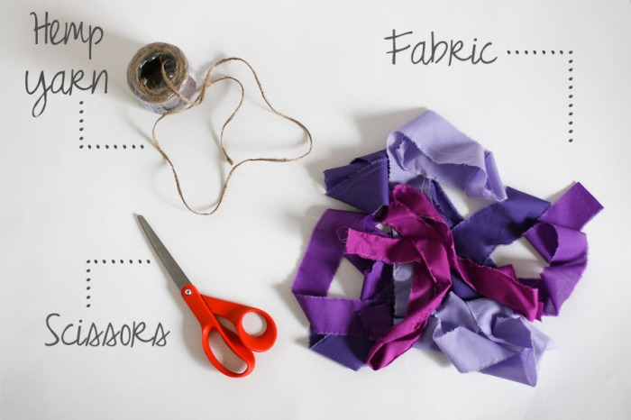 Fabric Strip Garland. DIY. She Loves Happy Lifestyle Blog. 2