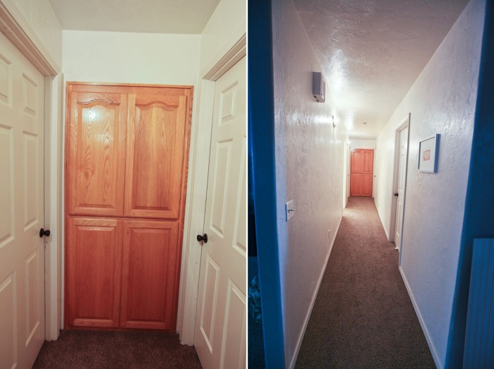 Painted hallway cabinets
